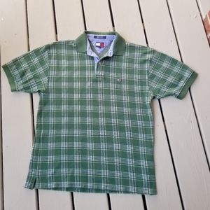 M  Vtg Tommy Hilfiger green plaid polo shirt